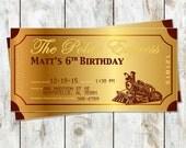Metallic Polar Express Train Ticket Invitations - Golden Ticket Party Invitation - Train Birthday Party