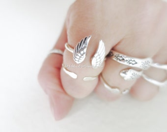 Sterling Silver Adjustable Wing Ring - Solid 925 - Insurance Included