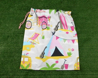 Large cotton drawstring bag, beach holiday, bag for storage, library, toys, kindy sheets
