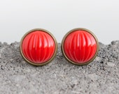Bright Red Fluted Cabochon Large Post Stud Earrings