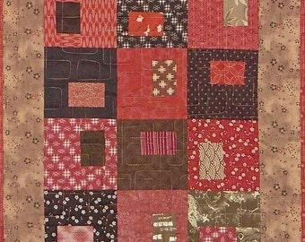 Patchwork Quilt - red and brown Japanese table runner or wall hanging
