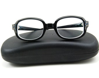 Vintage 50's Eye Glasses - Retro / Hipster / Nerd Chic with Blue Rhinestones and Silver Studs with Thick Black Frames - FREE Case