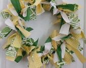 St. Patricks Day Rag Wreath in Green, Yellow, & Cream