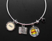 Librarian Bracelet Adjustable Stackable Bangle Library Worker Book Lover Bibliophile Literary Jewelry