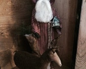 Primitive Clay Face Santa Doll with Stocking, House and Reindeer