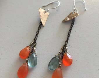 Celeste Earrings carnelian, moss aquamarine mixed gemstone antique brass, gold filled, silver accent beaded earrings