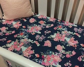 Navy Floral Fitted Crib Sheet, Changing Pad Cover or Mini Crib Sheet in Coral Peach Navy Floral Custom Crib Bedding- Ready to Ship