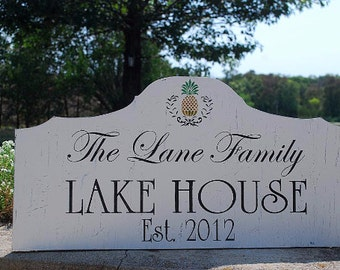 Custom CABIN signs, HOUSE signs, LAKE House signs, 24x12 Personalized signs