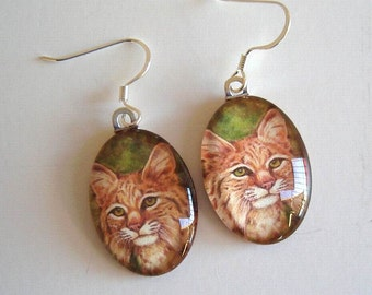 Cat Bobcat Jewelry Earrings School Team Mascot Art Glass