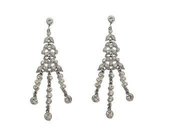 Chandelier Earrings, Art Deco Rhinestone, Vintage Earrings, Art Deco Bridal Statement Earrings, 1920s Fine Art Deco Wedding Jewelry