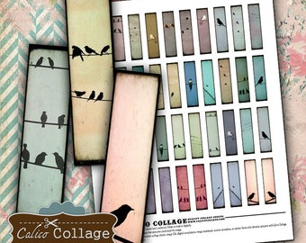 Birds on a Wire Digital Collage Sheet Printable .5x2 Matchstick Size for Pendants Half Domino Images for Earrings Decoupage Paper