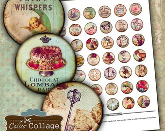 Printable, Digital, Collage Sheet, Whimsy, 1 inch Circles, Bottlecap Images, Printable Paper, Images for Pendants, Whimsical, Vintage