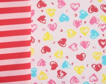 Knit New happy hearts and stripes Valentine  fabric duo total of 2 yards