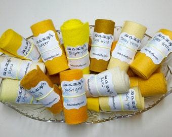Wool Felt Rolls, Set of Three, Yellow Felt, Fabric Remnants, DIY Crowns, Felt Flowers, Felt Ribbon, 18 Inch Roll, Applique, Wool Scraps