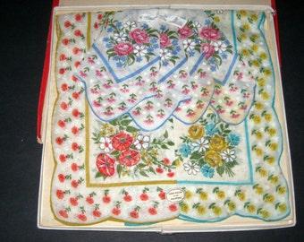 3 Vintage Unused Floral Handkerchiefs in Original Gift Box