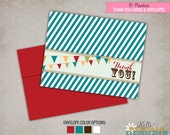 Carnival Folding Thank You Cards, Circus Thank You Note, Colored Envelopes #B106