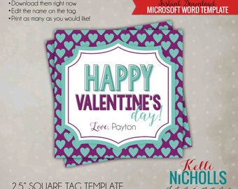 Printable Happy Valentine's Day Tag Template, Purple with Turquoise Hearts - Instant Download