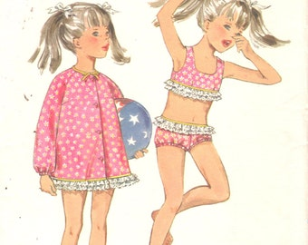Butterick 5328 1960s Toddlers 2 Piece Swimsuit and Beach Coat Cover Up Pattern Childs Girls Vintage Sewing Pattern Size 4 Breast 23