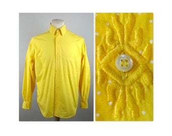 Vintage 80s Mens Valentino Shirt 15.5 Yellow Polka Dots embroidered button holes
