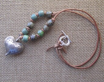 Boho Bohemian Hippie Leather Cord Glass Beads and Hill Tribes Sterling Silver Heart Necklace