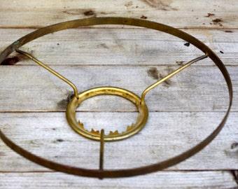 "Vintage 9 1/2"" Brass Oil Lamp Shade Holder Tripod Ring"