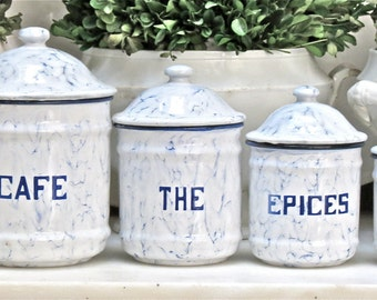 Vintage Lovely French Enamel Canister Set