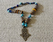 Antique Trade Bead Necklace With Coptic Ethiopian Cross Turquoise and African Beads REDUCED