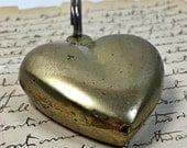 Vintage Brass Puffy heart key chain 80's