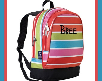 Monogram Backpack and Lunch Bag Set - Wildkin - Personalized - Bright Stripes - Back to School Elementary