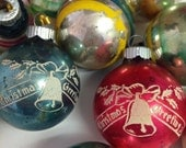 Shiny Brite Ornament Lot of 14 Christmas Greetings Pink Turquoise