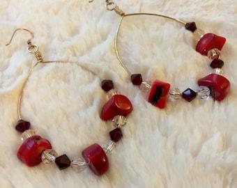Coral & Swarovski Earrings