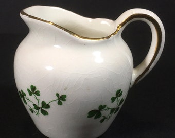 "Vintage Porcelain ""Shamrocks"" Mini Creamer by Carrigaline Pottery Co., Made in Cork, Ireland"