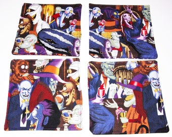 4 PC Reversible Coaster Halloween decor Monster Mash Holiday Home Decor, Mini Mat, Candle Mat, Ready to Ship