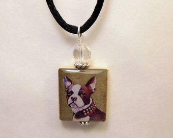 BOSTON TERRIER Necklace / Beaded Scrabble Pendant / Charm / Jewelry