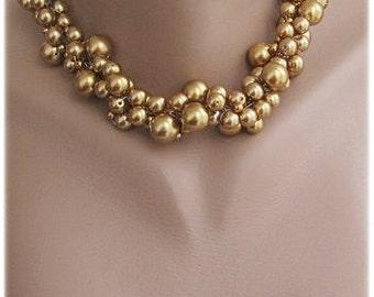Bridal Glass Pearl Necklace, Wedding Caramel ,