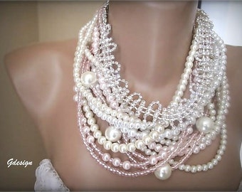 Chunky layered Wedding ivory glass pearl seed bead necklace, Handmade , rhinestone , Bridal  Pearl  Necklace