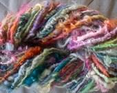 Handspun Hand Dyed Curly Wool Bulky Textured Art Yarn in Multi-Colors by KnoxFarmFiber for Knit Crochet Felt Weave Fun