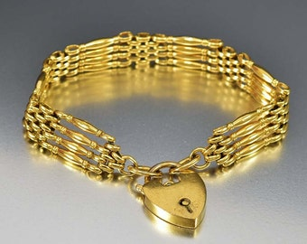 Antique 9K Gold Victorian Gate Bracelet, Antique Padlock Heart Bracelet, Victorian Bracelet, Gold Link Bracelet Antique Jewelry Gold Chain