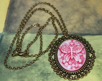 Large Rose Pink Cameo Pendant Necklace