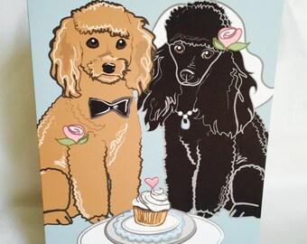 Wedding Poodles - Greeting Card