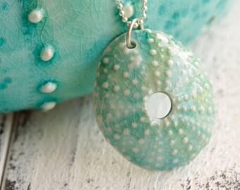 aqua Sea urchin pendant, porcelain