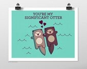 Significant Otter Illustration Art Print - Otters Holding Hands