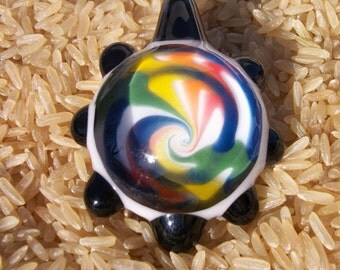 Large Flamework Glass Pendant Rainbow Swirl