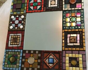"""Patchwork Mosaic Mirror 12""""x12"""""""