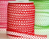 Double fold crochet edge bias tape, crochet bias tape, lace bias tape, white and red bias tape, polka dot bias tape, bias binding