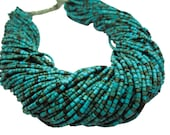 Turquoise Beads, Turquoise Heishi, Blue Turquoise Beads, Turquoise Tube Shaped Beads, SKU 4506A