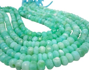 Peruvian Opal Beads, Peruvian Opal Beads, Green Opal Beads, Faceted Rondelles, SKU 4816