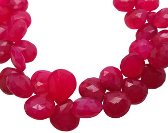 Pink Chalcedony Briolette Beads, Pink Chalcedony, Fuscia Pink, 10-12mm, Heart Briolettes, SKU 5051