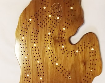 State of Michigan Cribbage  Board - 2 OR 3 player Game - Black Walnut Wood - Includes cloth storage bag - In Stock Ready to Ship