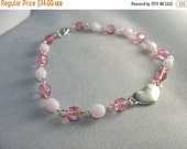 heart bracelet ... silver heart charm bracelet with pink glass chain